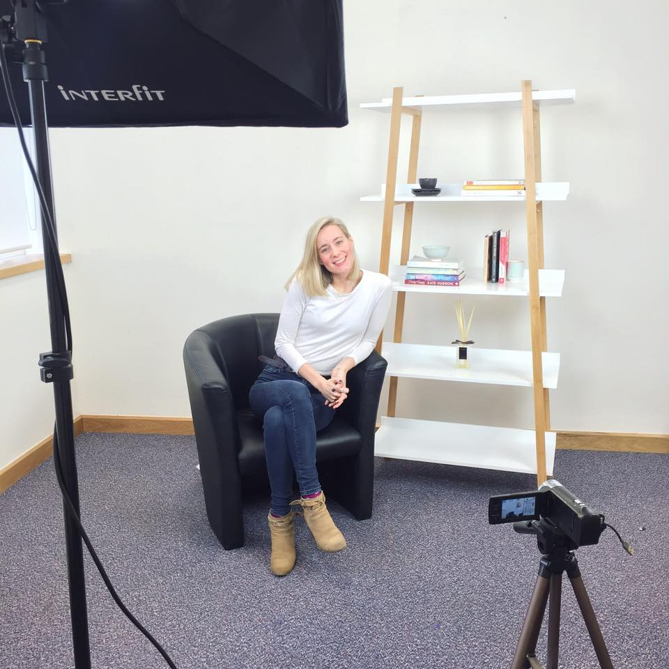 Alice filming for online course